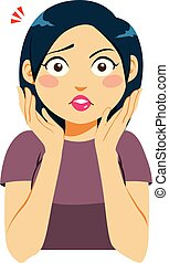Young woman with shocked surprised face expression and hands around face