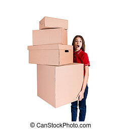 Shocked woman is looking at a heap of boxes with a widely open mouth isolated on white background