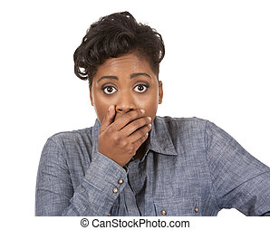 shocked woman - pretty black woman with shocked expression...