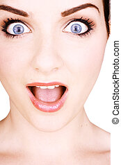 Shocked woman - A close up of a pretty woman pulling a...