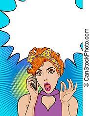 Shocked woman talking on mobile phone