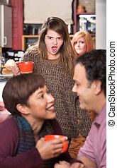 Shocked Woman Watching Couple