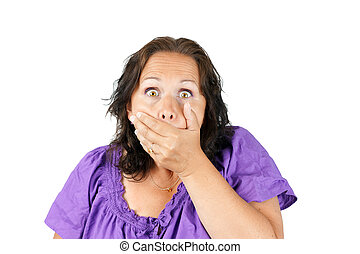 Shocked woman with hand over mouth