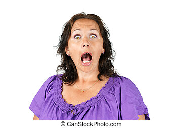 Shocked woman with open mouth