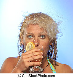 shocked woman - woman with drink is shocked from water...