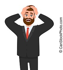 Shocked young businessman holding head with hands. Male character design illustration. Facial expressions, emotions and body language, stress, tension and migraine concept in vector cartoon style.