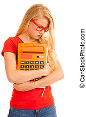Shocked young student in red t shirt with calculator isolated over white
