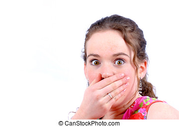 Shocked - Young teenager looking surprised with her hand in ...