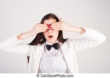 shocked young woman with closwd eyes