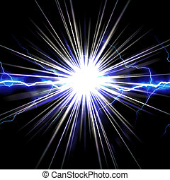 Bright glowing lightning or electricity glowing with a star bust flare accent.