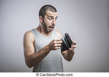 Shocking man with an empty wallet
