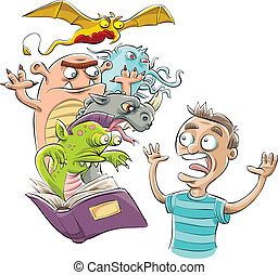 Cartoon monsters jump from the pages of a teenager's book.