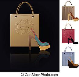 shoe addiction - set of 4 vector illustrations of modern ...