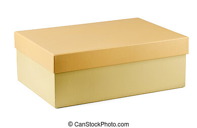 Shoe box - Closed cardboard shoe box isolated on white