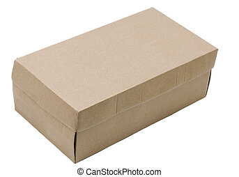 shoe box container cardboard isolated on white background