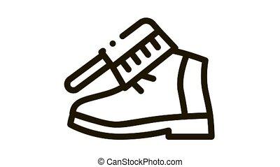 Shoe Brushing Icon Animation. black Shoe Brushing animated icon on white background