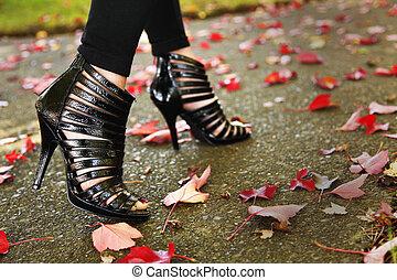 Shoe fashion - Caucasian female model posing fashion design...