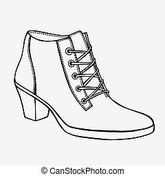 hand-drawn in sketch style - Shoe, hand-drawn in sketch...