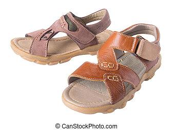shoe., hombres, sandalia, moda, plano de fondo