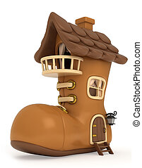 Shoe House - 3D Illustration of a House Shaped Like a Shoe