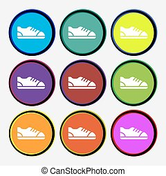 shoe icon sign. Nine multi colored round buttons. Vector