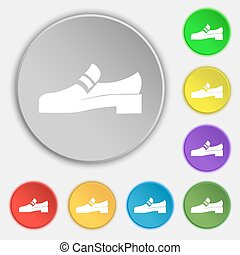 Shoe icon sign. Symbol on eight flat buttons. Vector