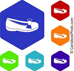 Shoe icons set hexagon