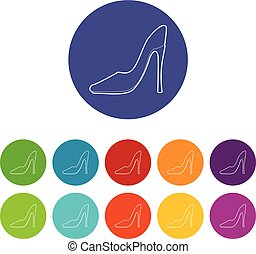 Shoe icons set vector color