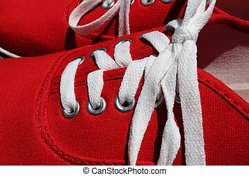 Shoe Laces - Close-up of shoe laces in sneakers