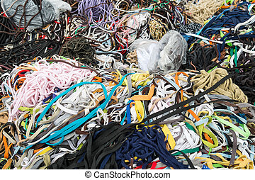 Shoe laces - Large assortment of shoe laces on a street...