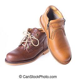 shoe., mężczyźni, fason, bucik, tło