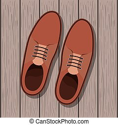 shoe masculine over wooden background