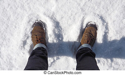 Shoe on the snow.
