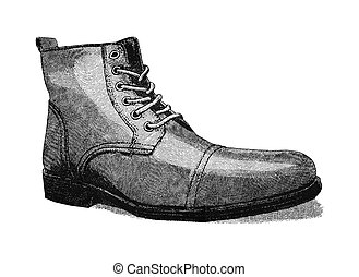 Original digital illustration of a shoe, in style of old engravings.