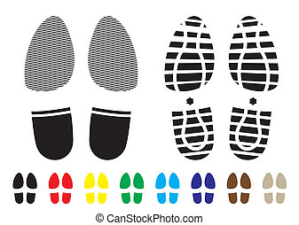 shoe pattern - shoe print pattern with outline and template ...