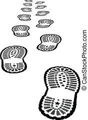 Shoe print vector illustration on white background