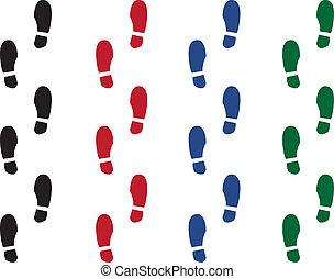 Shoe Print Colors - Various colored shoe prints. Black, red,...