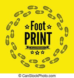 Shoe print vector illustration on yellow background