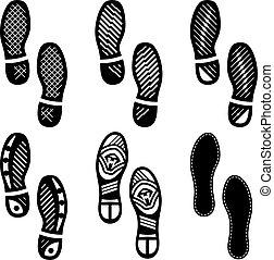 Imprint Soles Shoes (Shoe Print) Set Icon Vector Illustration