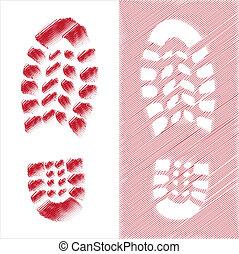 Shoe print illustration, red