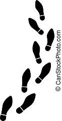 shoe print trail vector illustration