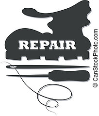 shoe repair, awl and needle image to vector