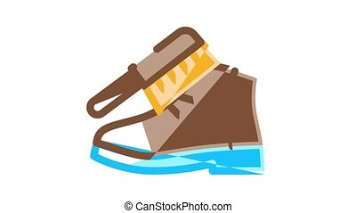 Shoe Repair Equipment Icon Animation Shoes Repair Tools And Scissors, Sewing Machine And Hammer, Cream And Brush