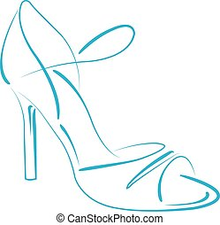 shoe., s, mujer, sketched