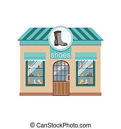 Shoe Shop Commercial Building Facade Design. Colorful...