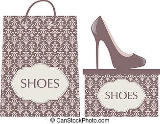 Shoe Shop - Illustration of elegant high heels, shopping bag...