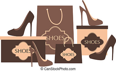 Illustration of elegant high heels, shopping bags and boxes isolated on white.