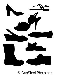 A vector illustration of some shoe silhouettes set against a white background.