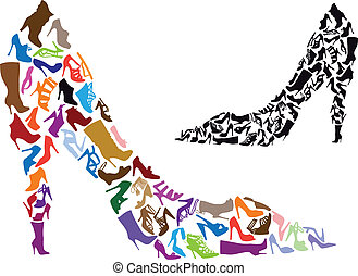 various shoe silhouettes in stiletto shape, vector background