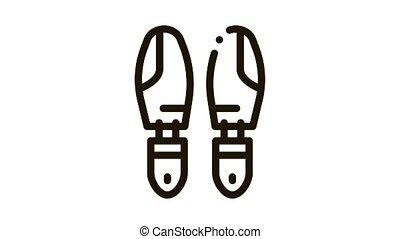 Shoe Sole Detail Icon Animation. black Shoe Sole Detail animated icon on white background